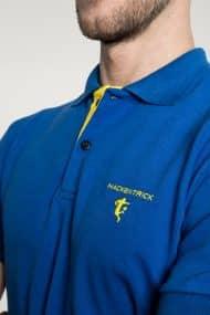 Klassisches Herren Poloshirt in Mittelblau-Hellgelb Brust