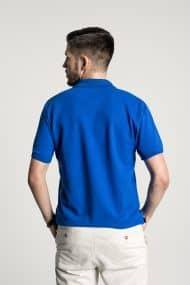 Klassisches Herren Poloshirt in Mittelblau – Weiß Hinter
