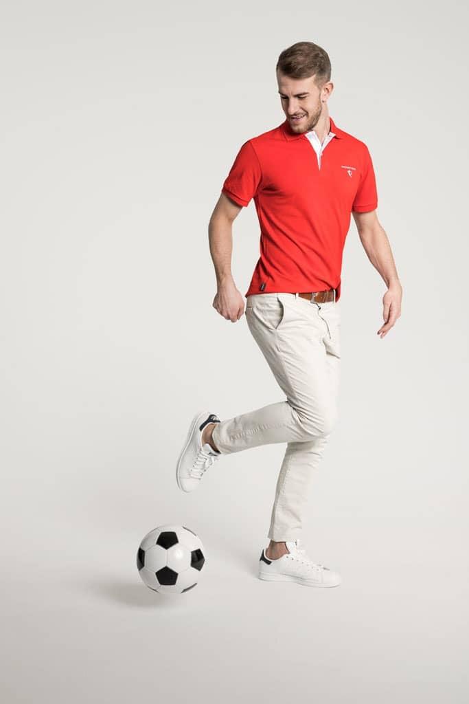 Klassisches Herren Poloshirt in Rot - Weiß