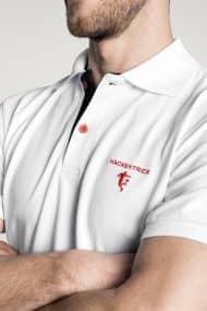 Klassisches Herren Poloshirt in Weiß – Schwarz Brust